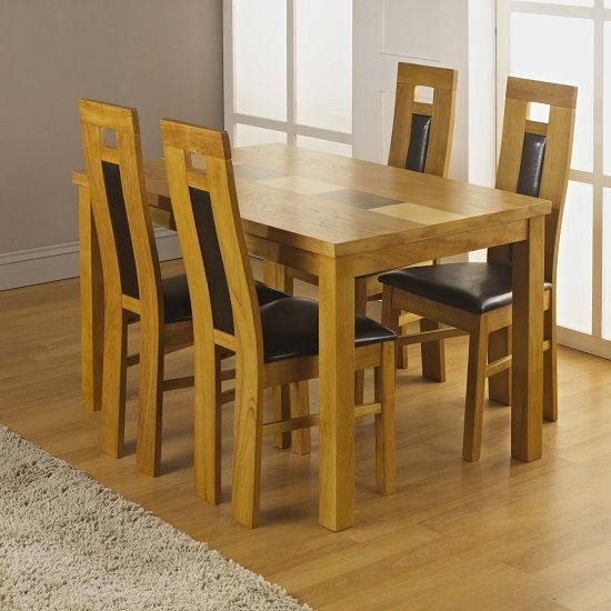 Stupendous Bali Oak Dining Table With 4 Chairs In Faux Leather Effect Gamerscity Chair Design For Home Gamerscityorg