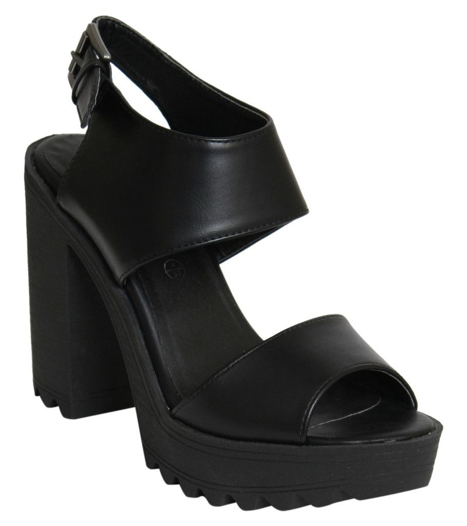 Scarlett Cleated Sole Block Heel Strappy Sandals in Black FRONT