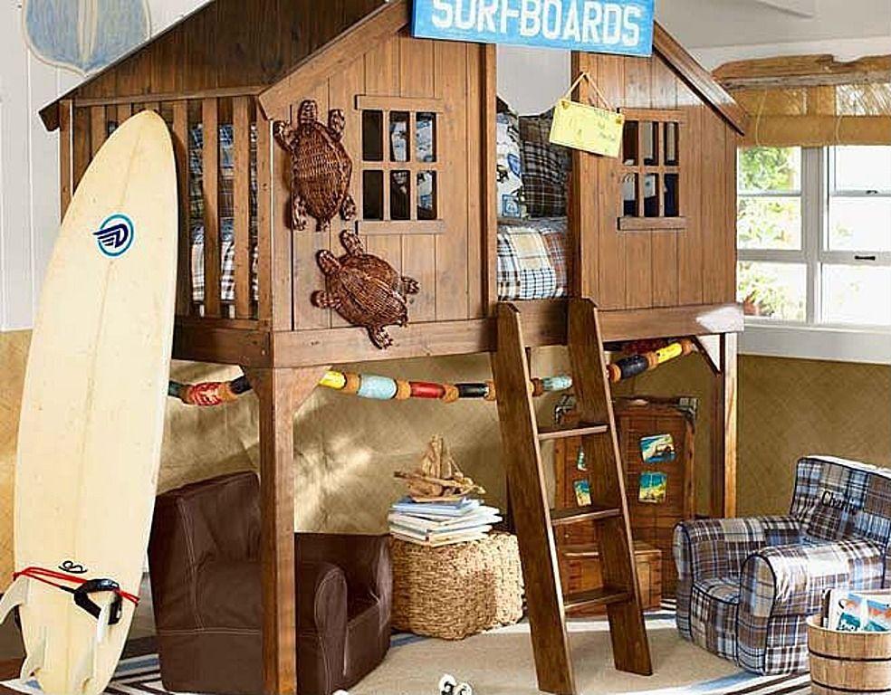 Tropical kid's bedroom Treehouse loft bed, Pottery barn