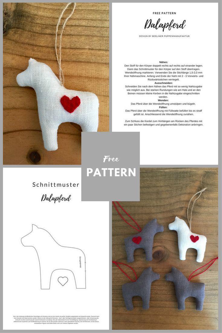 DIY-Anleitung/Schnittmuster: Dala-Pferd Schwedisches Data-Pferd als Anhänger ... - Claudia #horsepattern