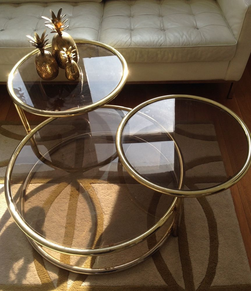 Hollywood Regency Mid Century 70s Brass Gold Glass Table Nest Rizzo Jansen  Era