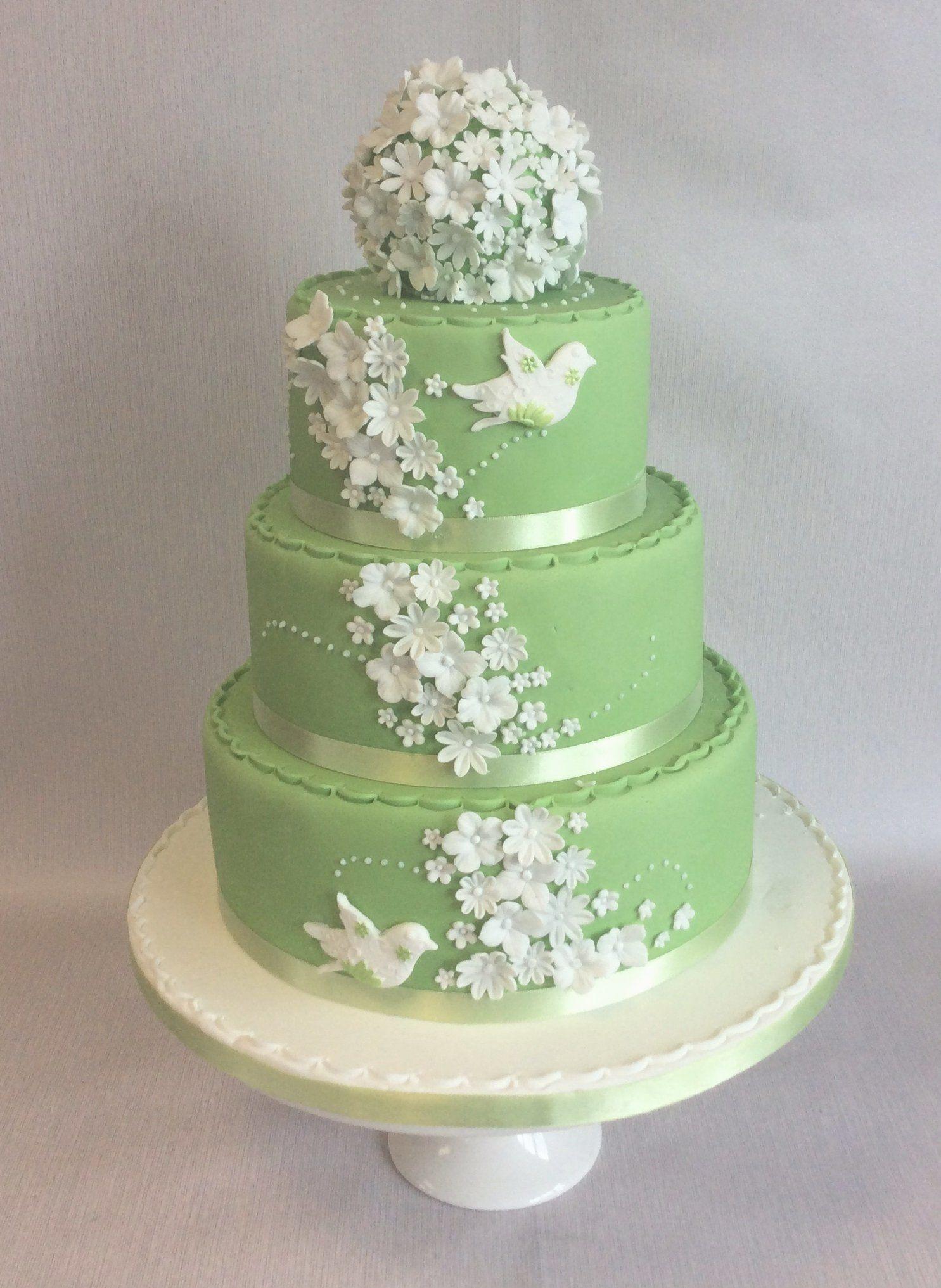 Amanda 3 tier spring green and white themed wedding cake