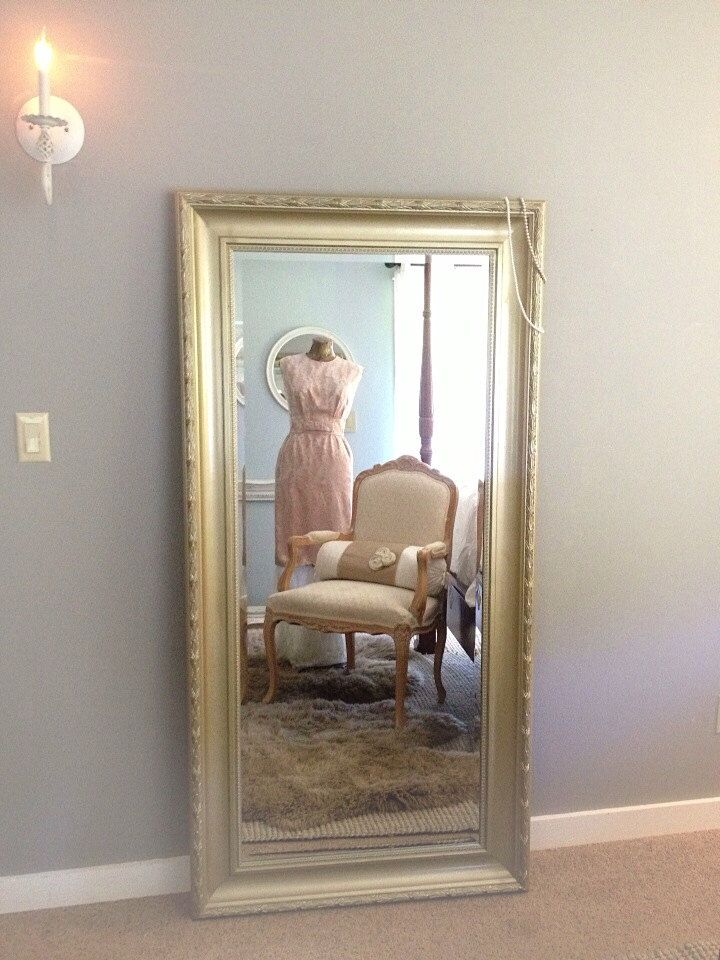 Gold Ornate Wall Mirror Large Leaning Dressing Room Hollywood Regency Home Decor