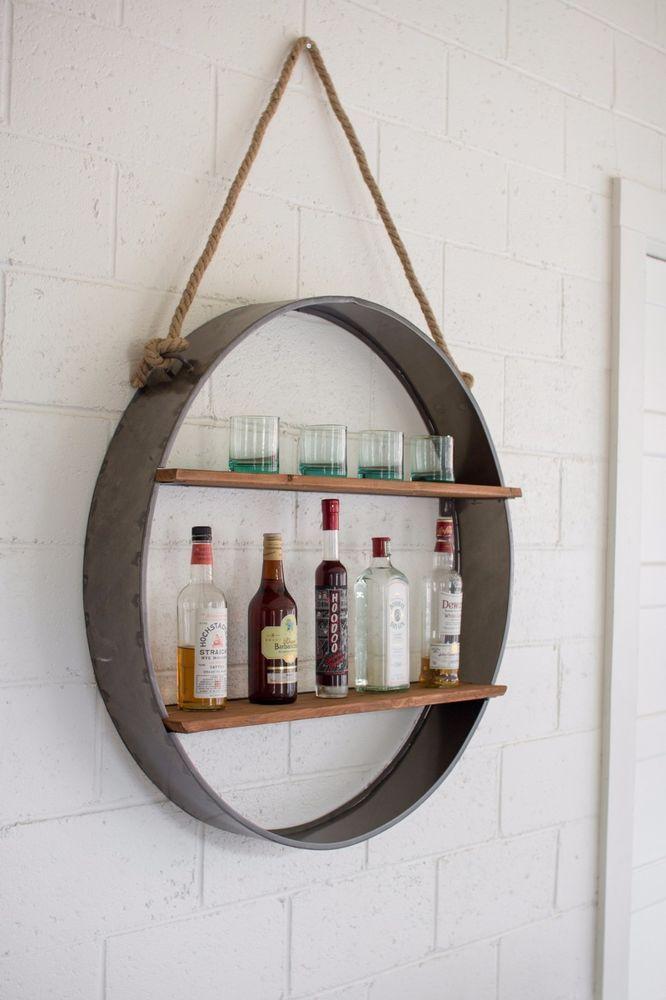 Round Iron/Wood Hanging Rack Wall Mount Shelf Wine Bar Industrial ...