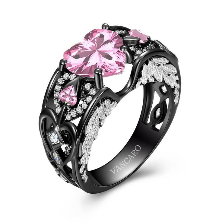 Black And Pink Heart Wedding Rings