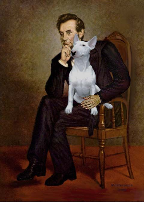 5x7 archival print of Abraham Lincoln famous art with a Bull Terrier by www.HeartBridgeGallery.com $4.95
