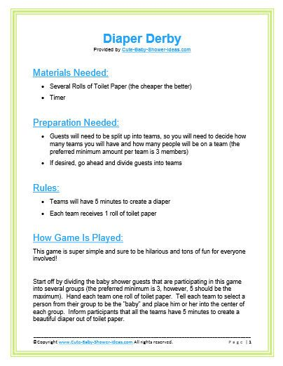 Baby Showers Rules ~ Diaper derby pdf one day pinterest baby shower