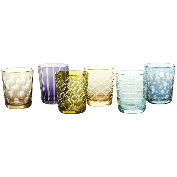 Pols Potten Mixed Cuttings Glass Tumblers - Set of 6 ($110) ❤ liked on Polyvore featuring home, kitchen & dining, drinkware, food, multi, cut glass wine glasses, colored wine glasses, cut wine glass, cut crystal wine glasses and colored cut crystal wine glasses