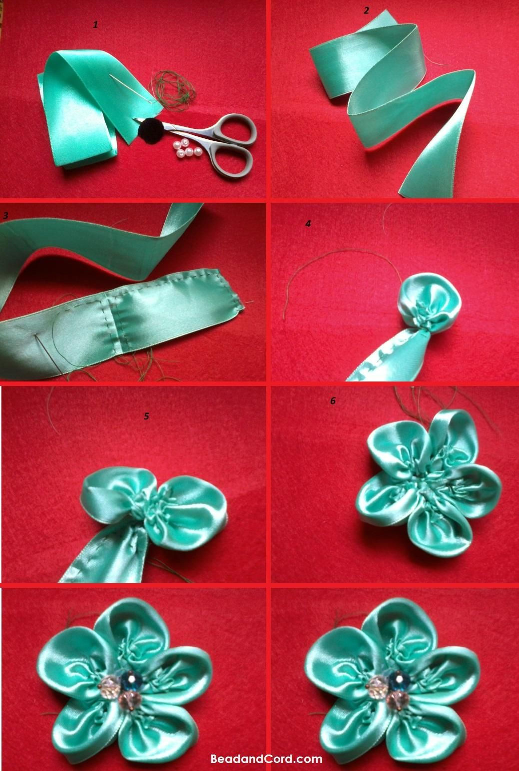 Ribbon Flowers Diy : ribbon, flowers, Ribbon, Flower, Bead&Cord, Flowers,, Ribbon,, Fabric, Tutorial