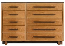 Modern 10 Drawer Dresser In Solid Hardwood With Natural Finish Made In Usa Solid Wood Dresser Solid Wood Bedroom Furniture Dresser Drawers