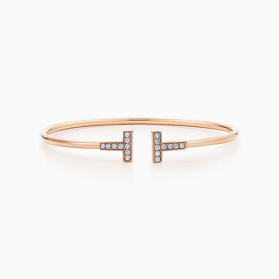 Tiffany T wire bracelet in 18k rose gold with diamonds, medium ...