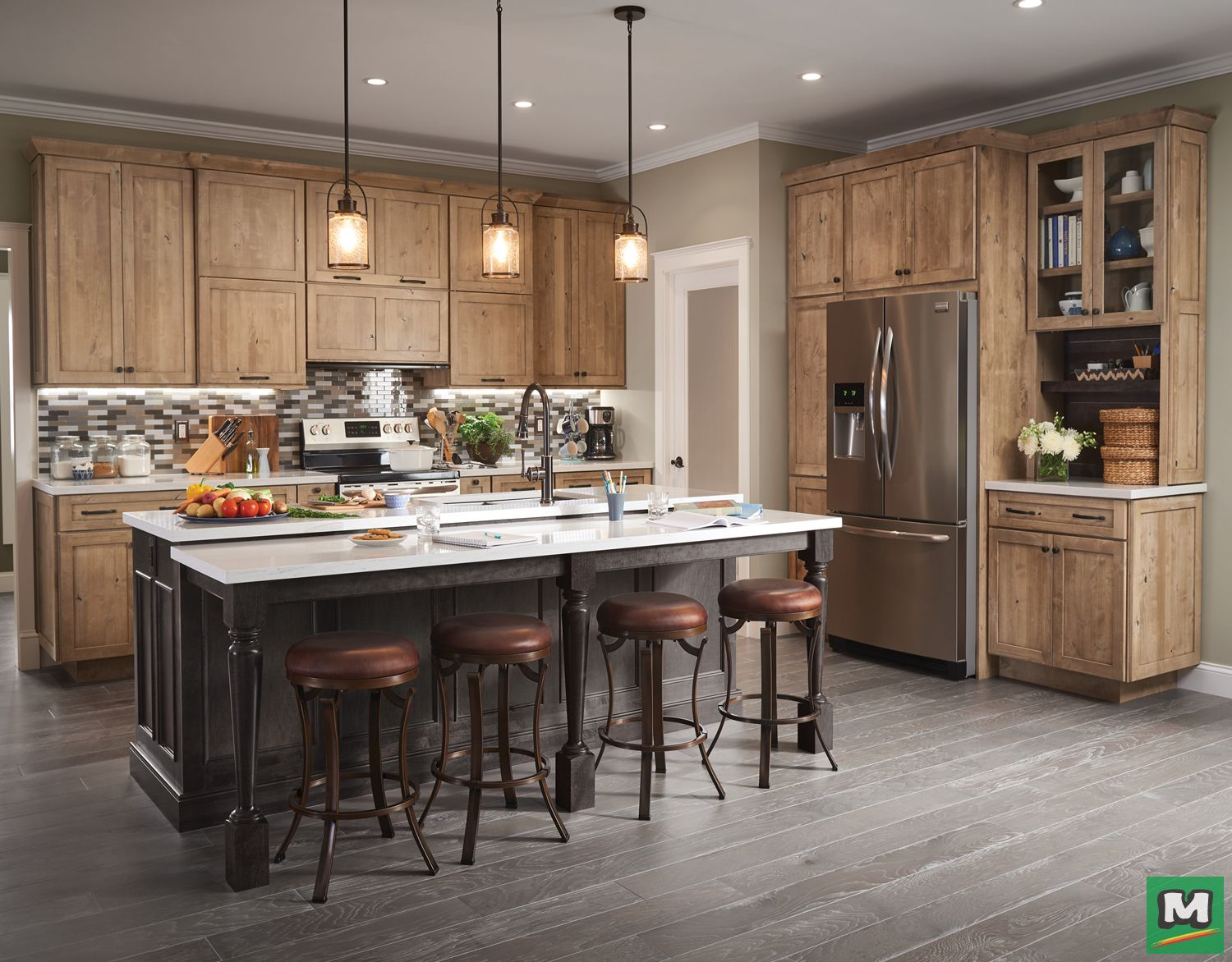 Don T Be Afraid To Try Two Cabinet Tones In Your Kitchen This Kitchen Features Dawson K Kitchen Cabinets Decor Cost Of Kitchen Cabinets Maple Kitchen Cabinets
