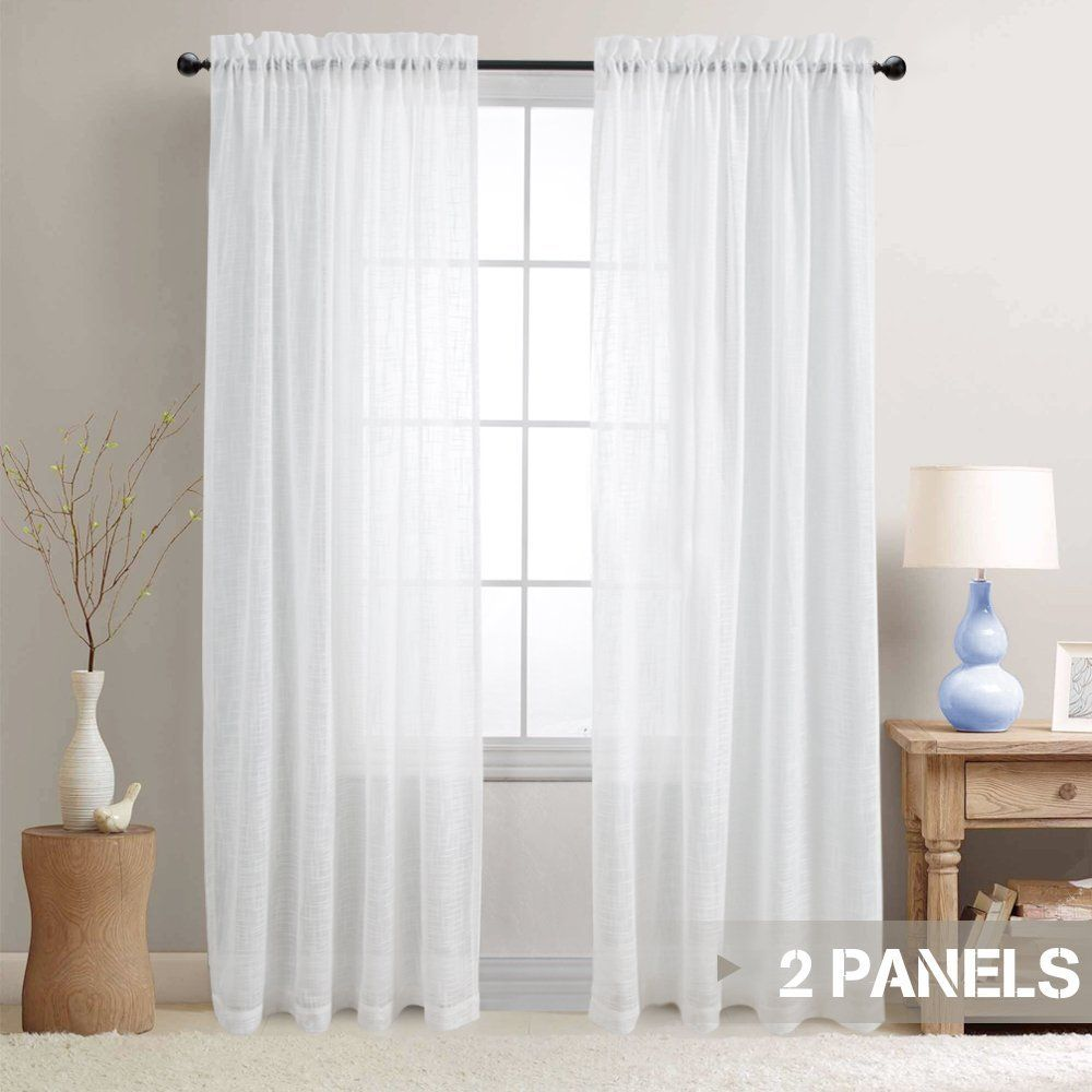 Amazon Com Lazzzy Linen Like Sheer Curtains For Living Room Open
