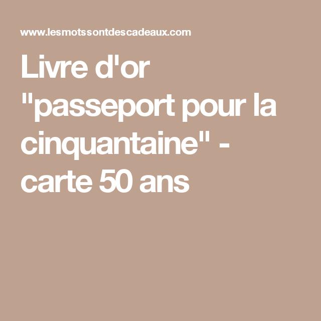 """Livre d or """"passeport pour la cinquantaine"""" carte 50 ans"""