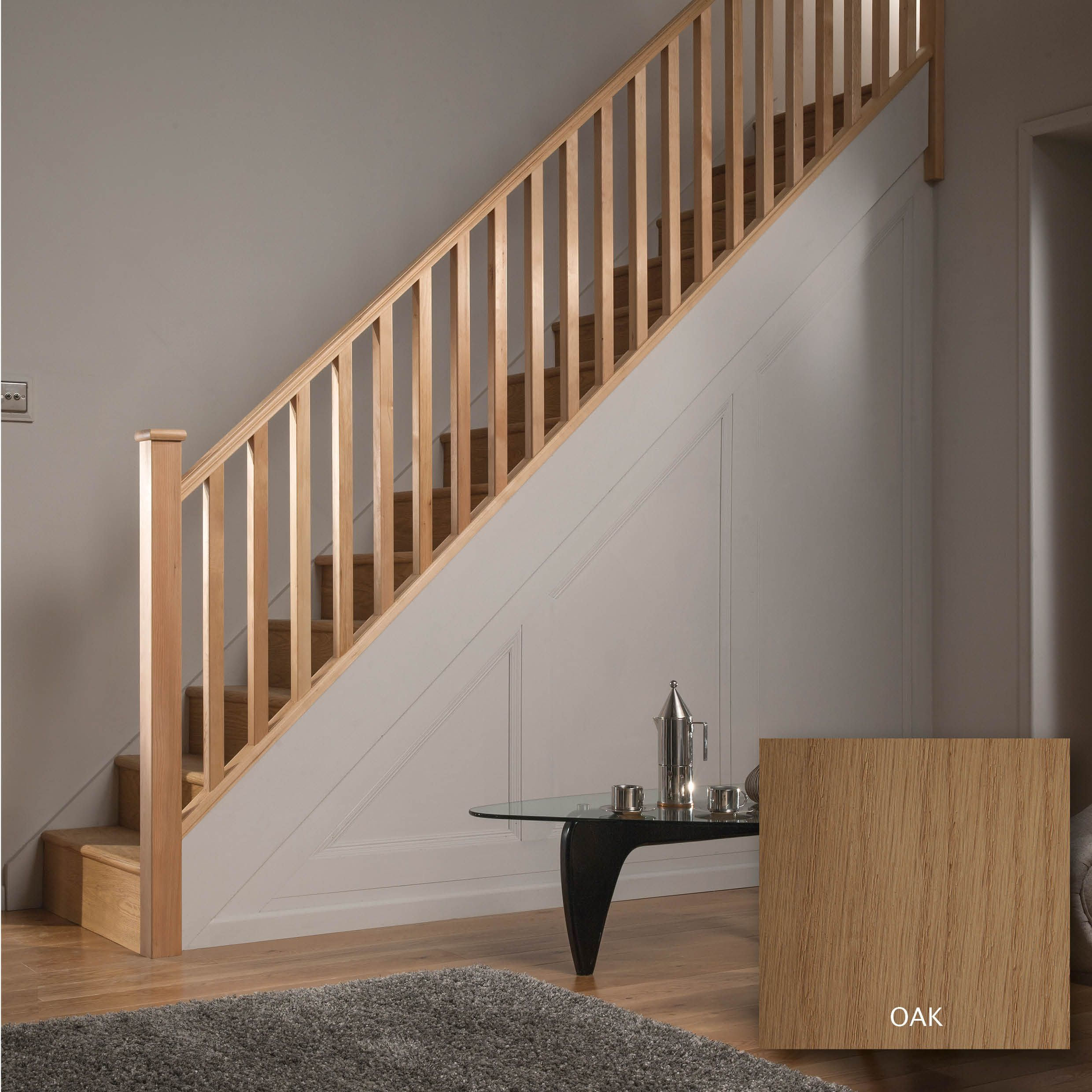 Square Oak 32mm Complete Banister Project Kit Departments Diy At B Amp Q Stair Railing Design Stair Railing Kits Stair Railing