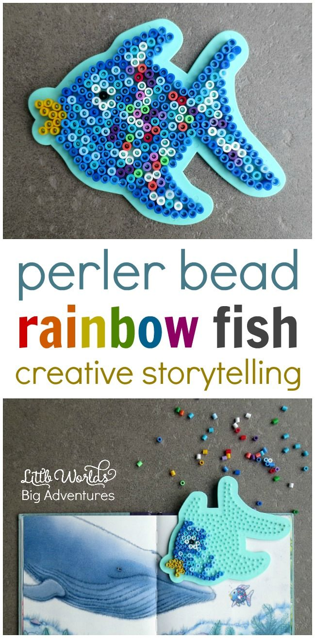 Setting up an invitation to create a perler bead rainbow fish for pretend play. | Little Worlds Big Adventures #rainbowfish #perlerbeads #childrensbooks #preschoolcraft #kidsactivities