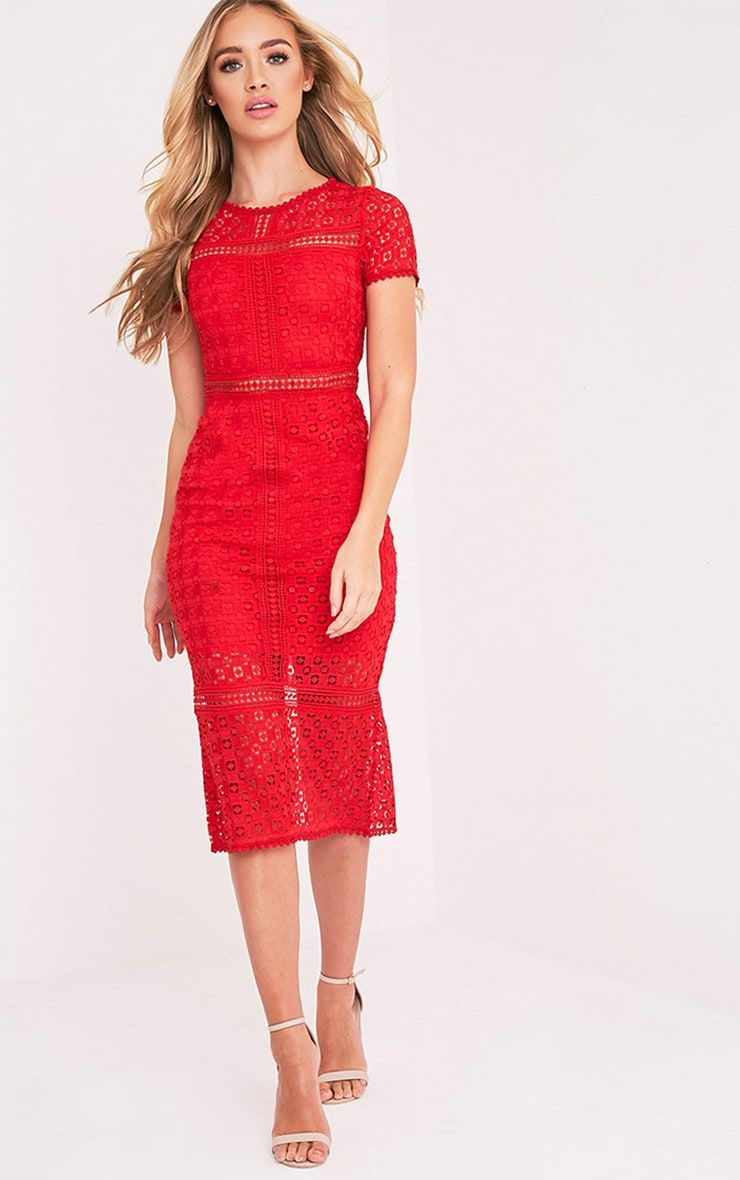 Premium red crochet lace midi dress with s inspired styles still