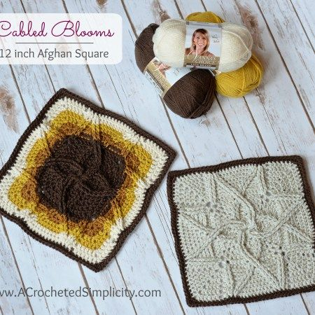 Cabled Blooms Afghan Square Free Crochet Pattern By Jennifer Pionk