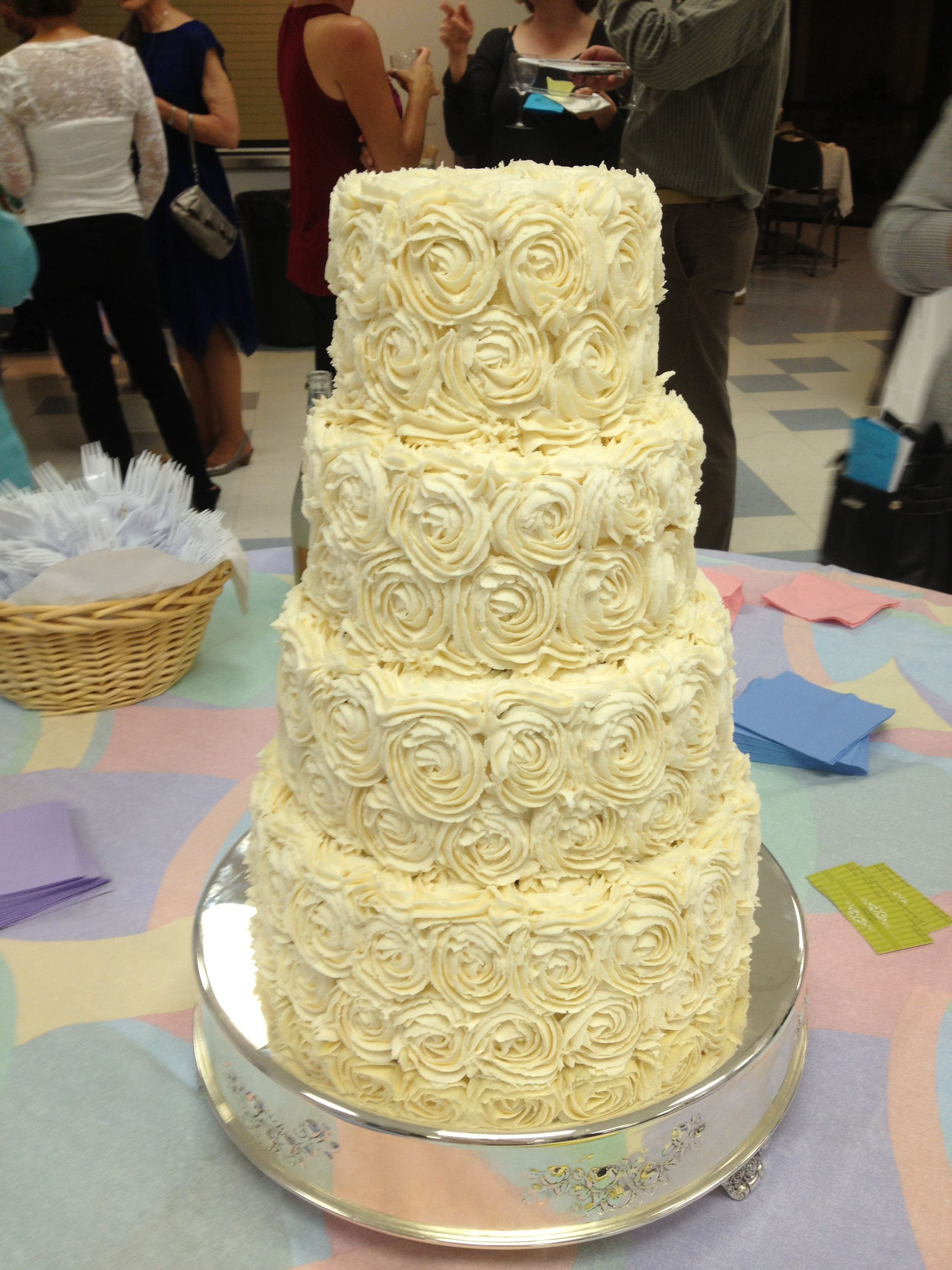 """Rosette Wedding cake 6"""" 8"""" 10"""" and 12"""" all 4"""" t"""