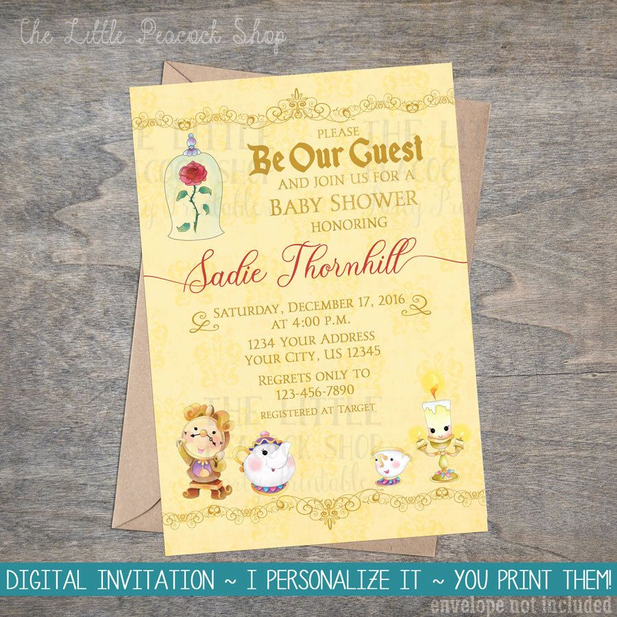 Beauty Belle Beast Baby Shower Invitation   Bell Be Our Guest   Chip Mrs.  Potts