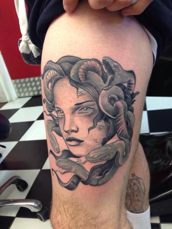 Medusa tattoo neo traditional black and grey
