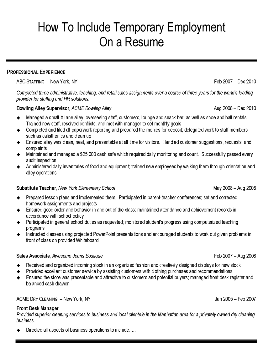listing temp work on a resume