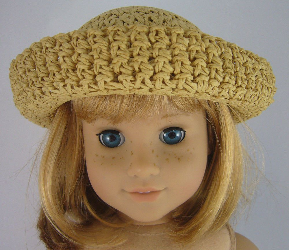 """Tan Color Raffia Crochet Straw Hat made for 18"""" American Girl Doll Clothes"""