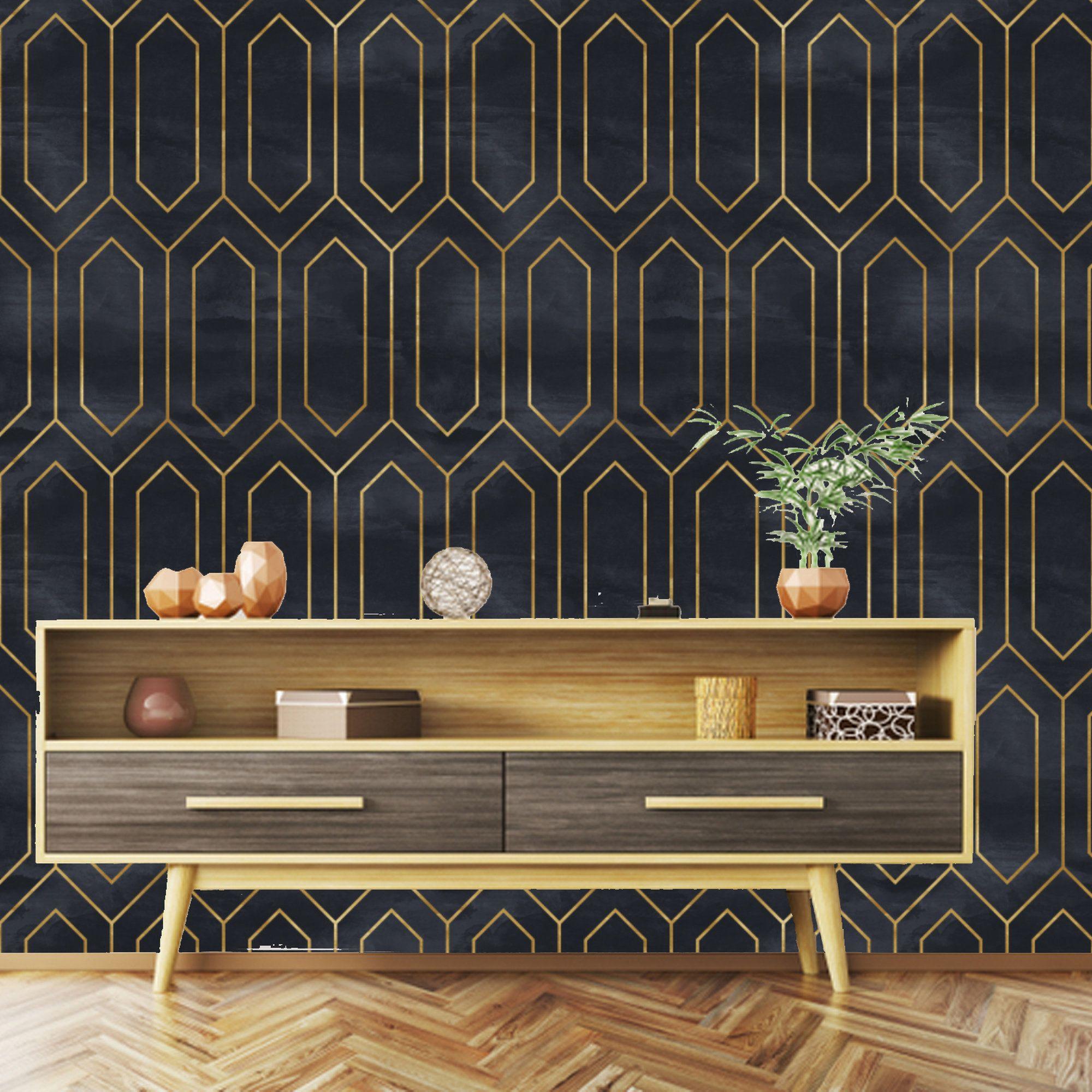 Geometric Art Deco Black Gold Wallpaper, removable peel