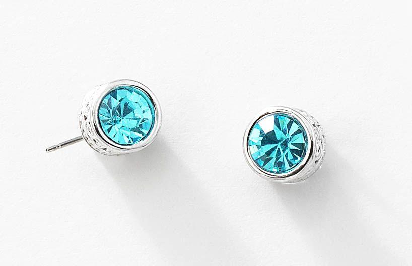 los recién llegados 4d6b2 7ee3e Bellos aretes de rodio con piedra de cristal azul turquesa y ...