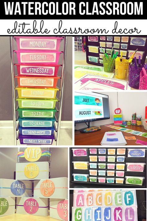 Watercolor Classroom Decor, Classroom Themes Decor Bundles EDITABLE #elementaryclassroomdecor