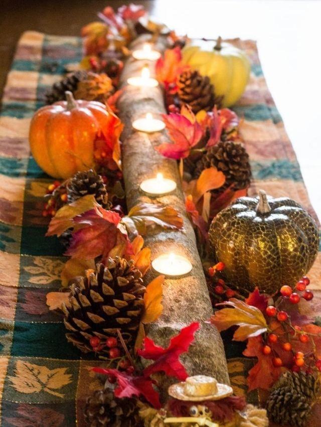 Herbst Tischdeko herbst tischdeko ideen ast teelichter kürbisse tannenzapfen deko