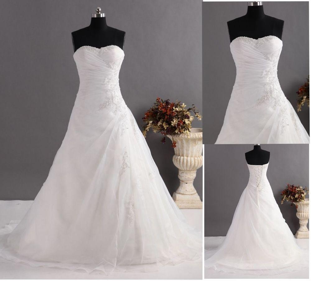 A-Linie Brautkleid Hochzeitskleid Bodenlang Weiß/Elfenbein mit ...
