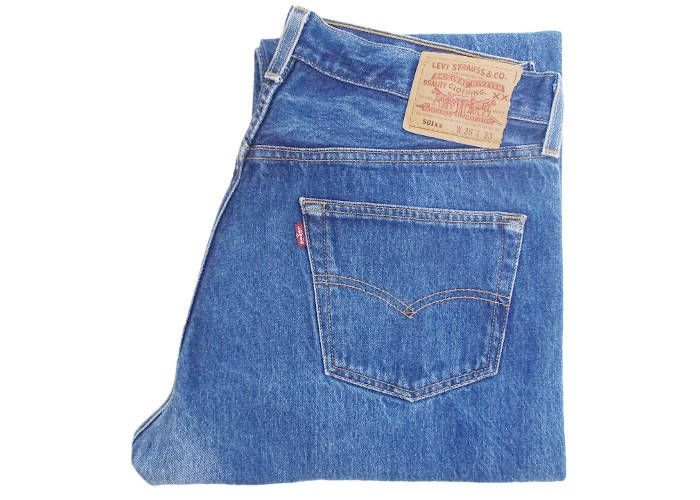 14f32289 Vintage Levis 501xx Jeans USA Made / 555 Button Stamp Valencia Street  Factory San Francisco / Stonewash Blue W34 L30 by BlackcatsvintageUK on Etsy