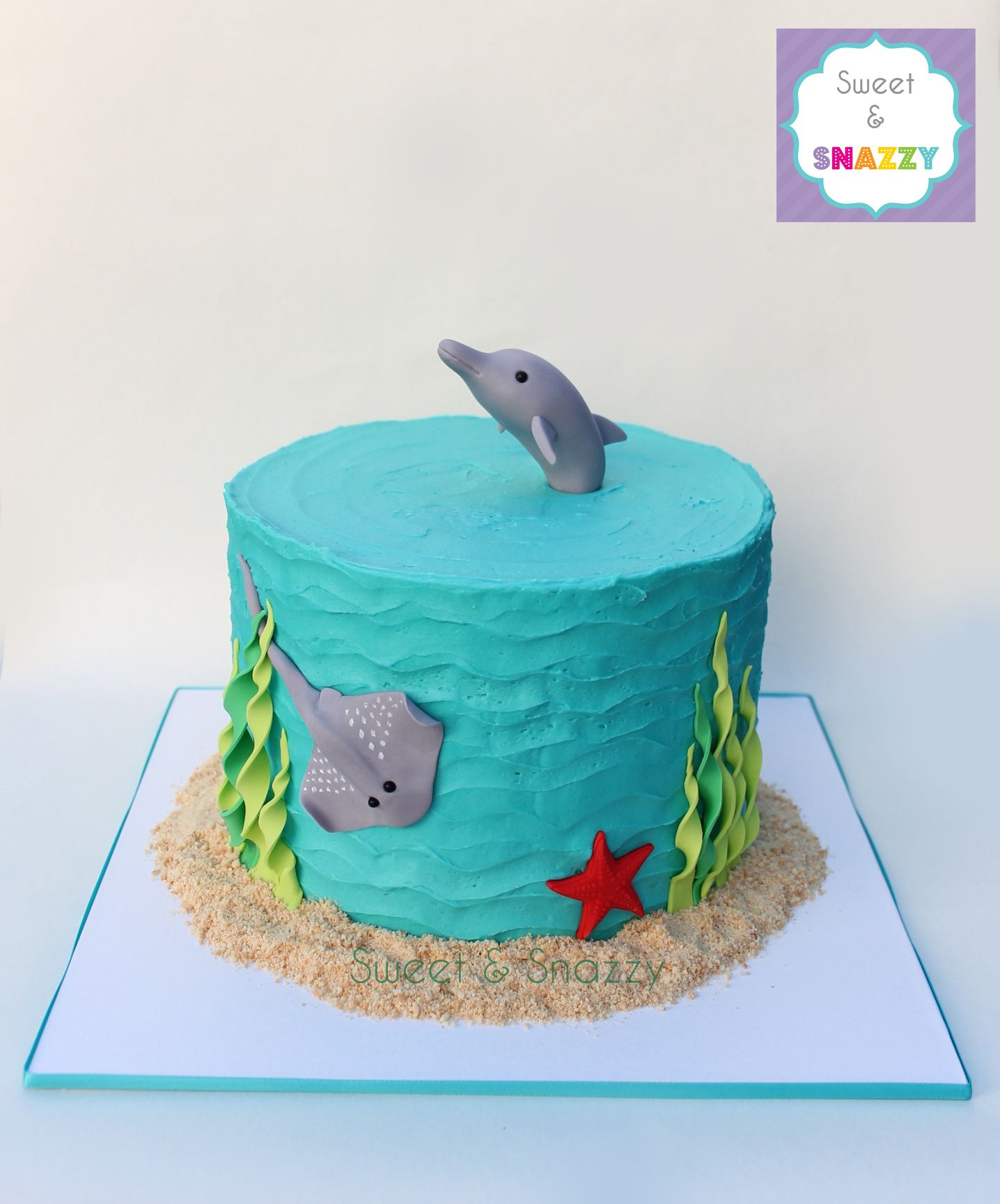 Under the Sea cake marine animal cake dolphin cake topper