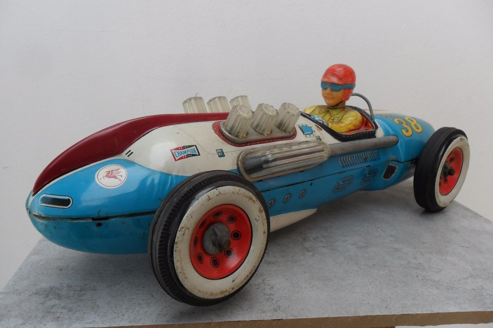 Rare Large Blue Race Car 38 By Masudaya Battery Operated Made In An 1950 S Toys Hobbies Vintage Antique Wind Up Ebay