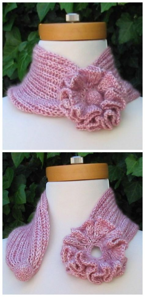 Self-Fastening Flower Scarf Free Knitting Pattern | Knitting ...