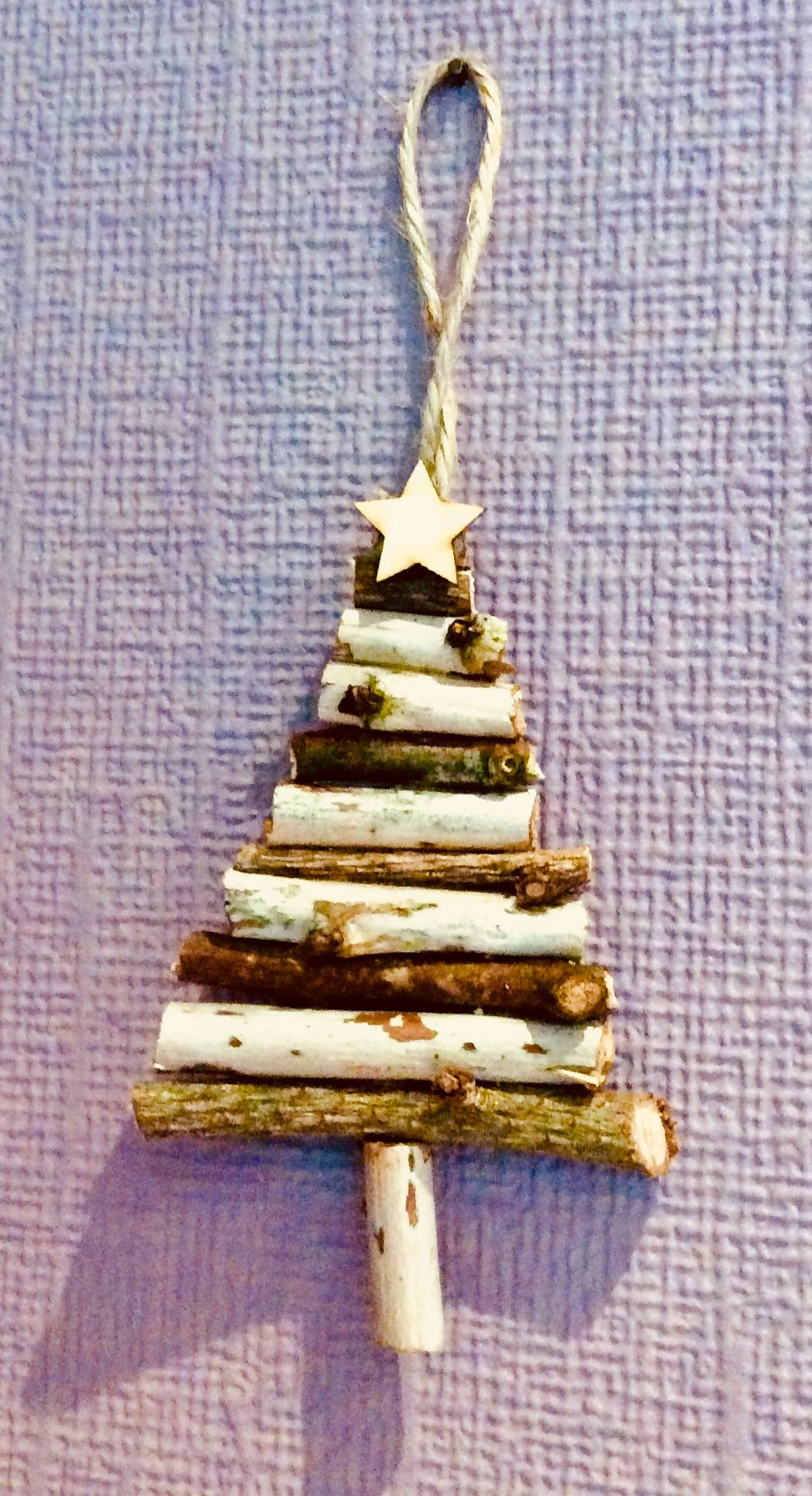 Tree decoration with three different woods including Fraser fir. Beautiful addition to any rustic Christmas theme. Visit us on Facebook - search 'Starlight Creations UK' for more details.