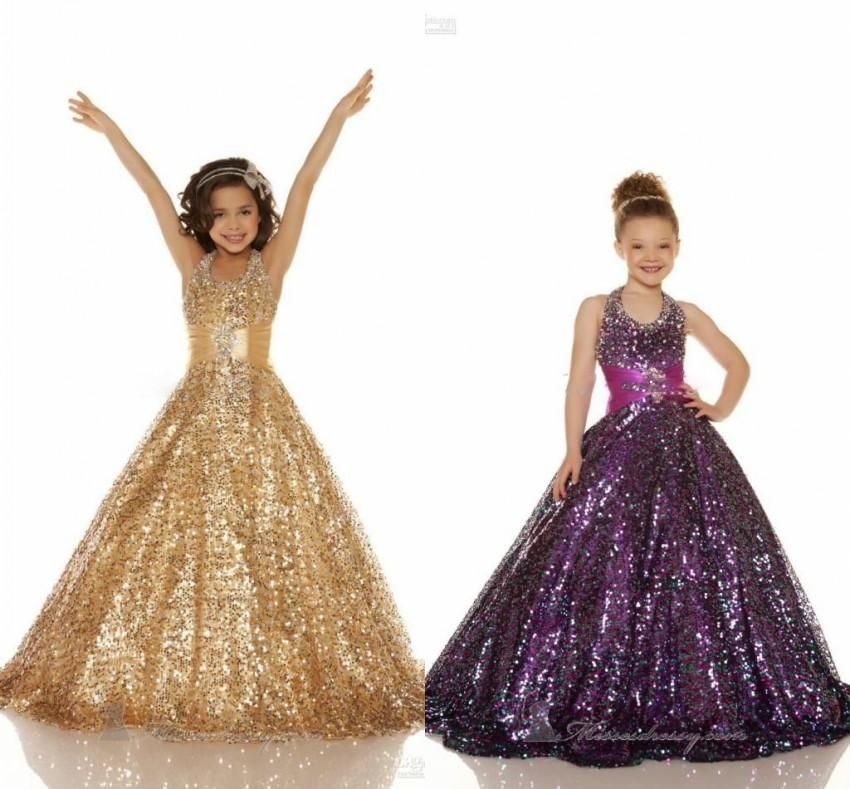2015 Sexy Girls Pageant Gowns Beaded Halter Ball Gown Flower Girls