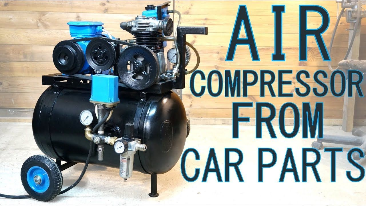 Guy makes his own air compressor from salvaged parts