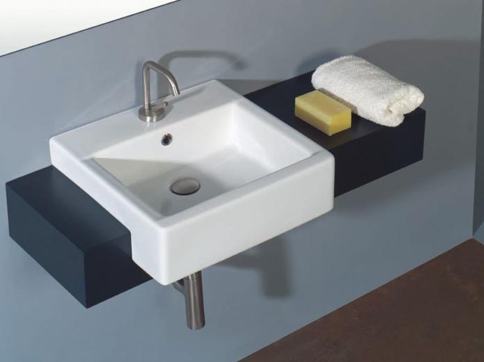 White Stone Hox Semi Recessed Basin Diseno Minimalista Disenos De Unas Lavabos