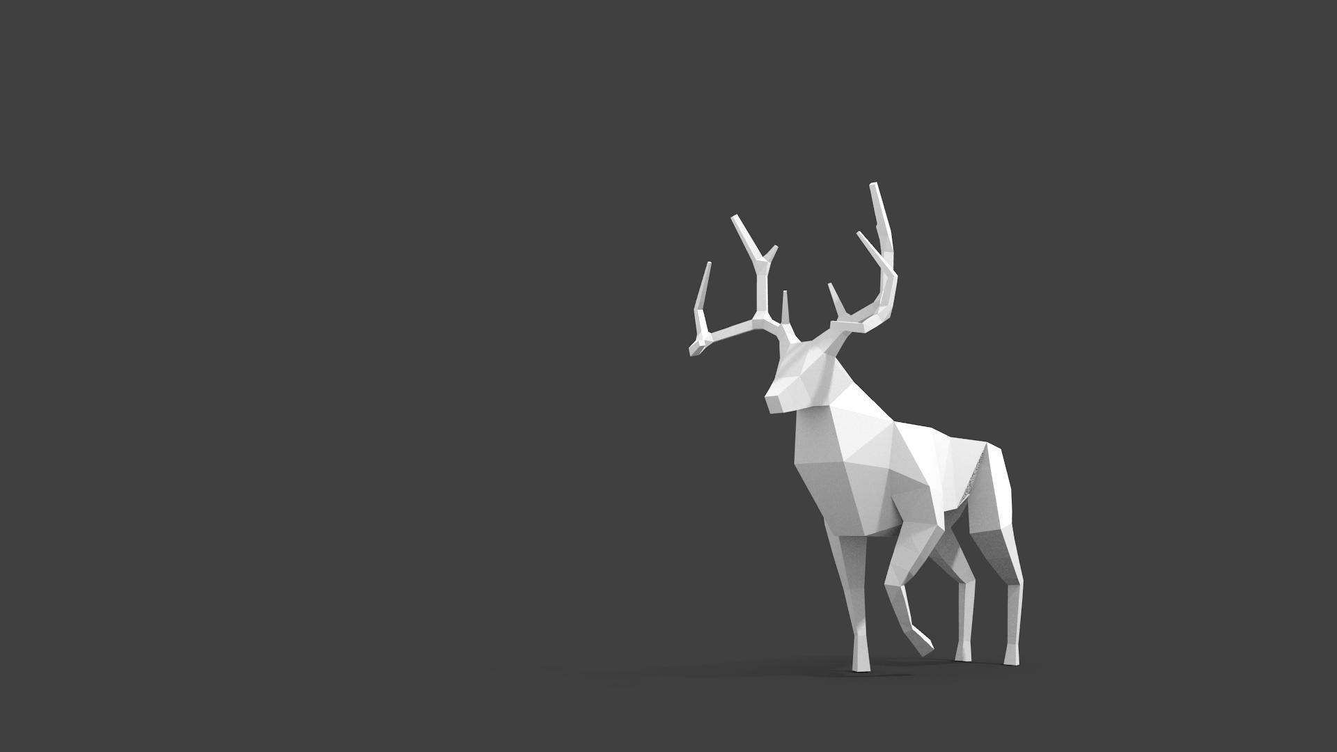 deer gray low poly - photo #14