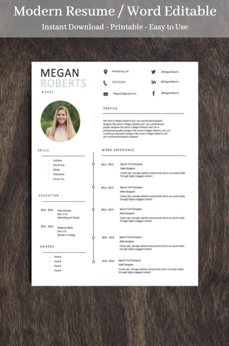 Minamalist Resume Template for Word Two Page Resume