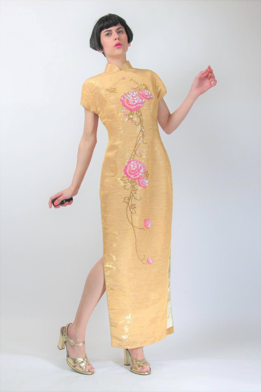 Asiatische Pailletten Kleid Vintage Floral Chinesisches Kleid ...