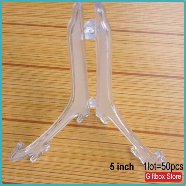 50pcs/lot) Clear Plastic Easel Stand Plate Stands Bowl Plate Display ...