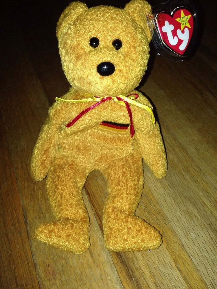 Ty Beanie Baby Germania the Bear RARE with Errors...Hang Tag in Wrote in  German  83f9b7bb08db