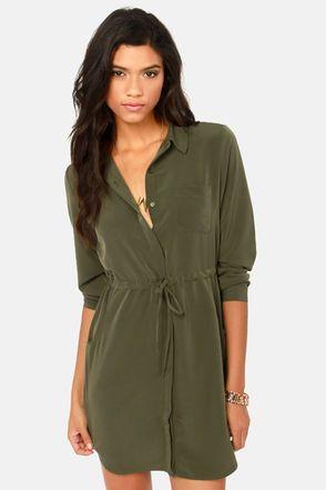 Olive & Oak A Shirt Thing Olive Green Shirt Dress at LuLus.com!