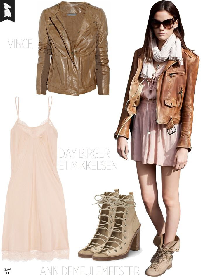 Toughen Up A Blush Toned Outfit (Without Any Black) With Layers, Leather & A Utilitarian Edge