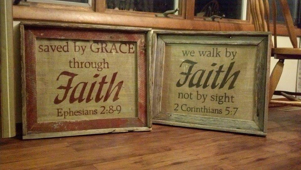 """Barnwood """"faith"""" frames... so rustic!"""