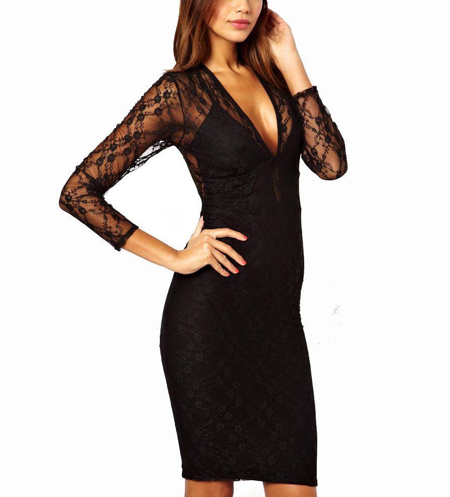 Black v neck lace back long sleeve party dress long sleeve party