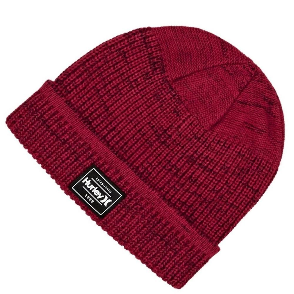 042636222 Hurley Mens Gym Red Turn Up Cuff Beanie Hat One Size | Beanie Hats ...